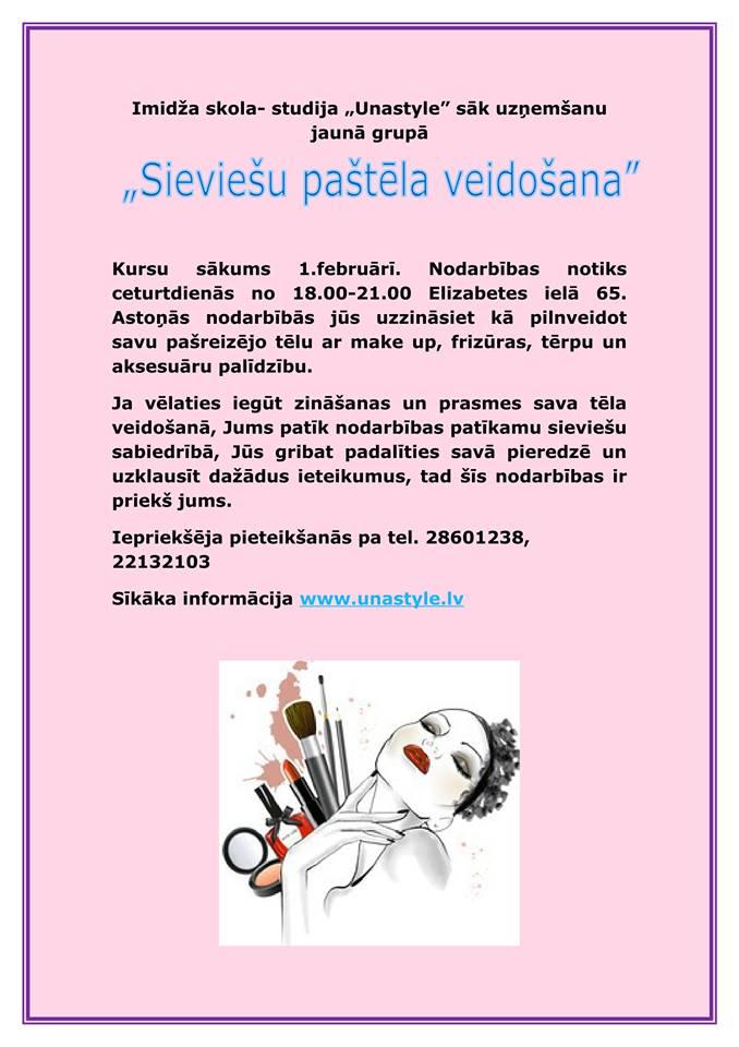 Sieviešu paštēla veidošanas kursi, sākums 2018. gada februārī