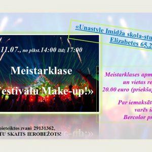 """""""Festivālu make-up"""" meistarklase ar Bercolor kosmētiku 7. jūlijā"""