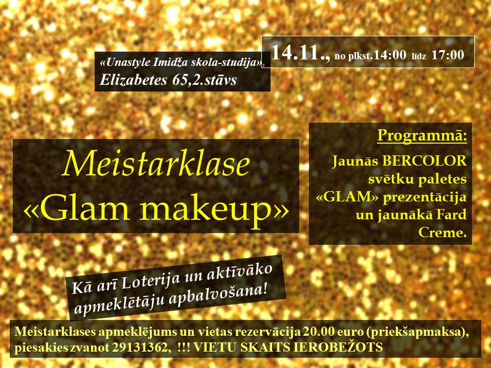 "NOVEMBRA BERCOLOR SEMINĀRS "" GLAM MAKE-UP"""